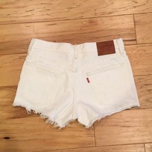 White Levi 501 Cutoff Shorts